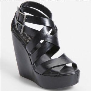 Kork-Ease Hailey Black Leather Wedge Sandal
